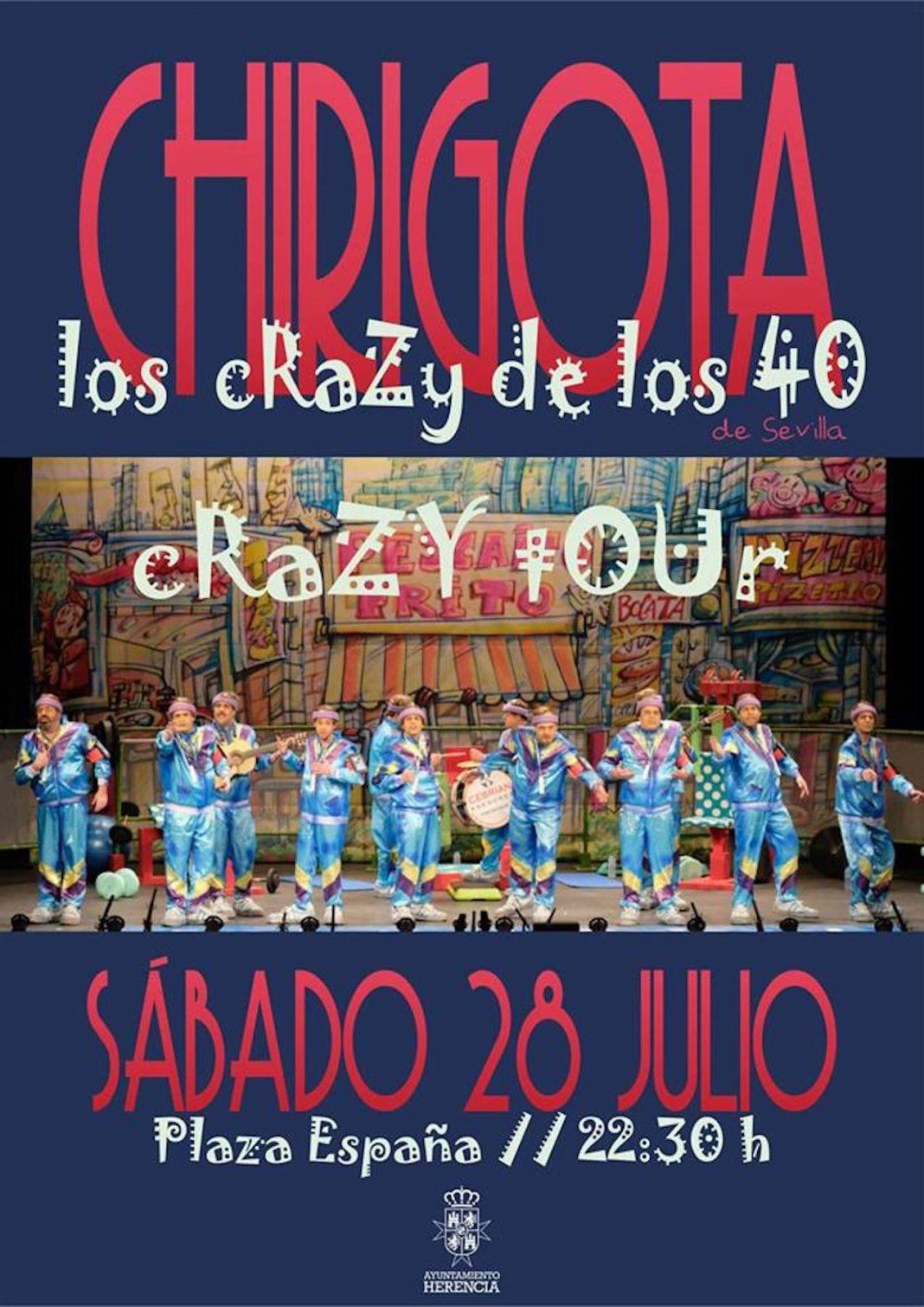"""Actuación de la Chirigota """"Los Crazy de los 40"""" en la Plaza de España el 28 de julio 2"""