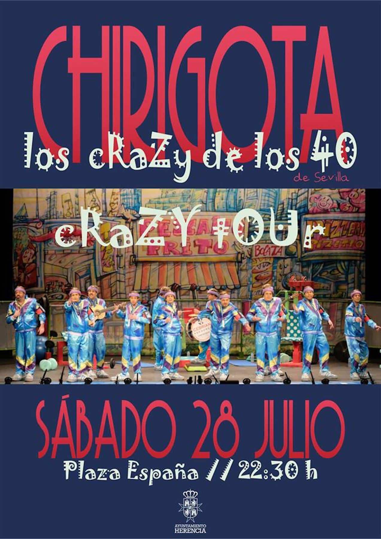 """Actuación de la Chirigota """"Los Crazy de los 40"""" en la Plaza de España el 28 de julio 1"""