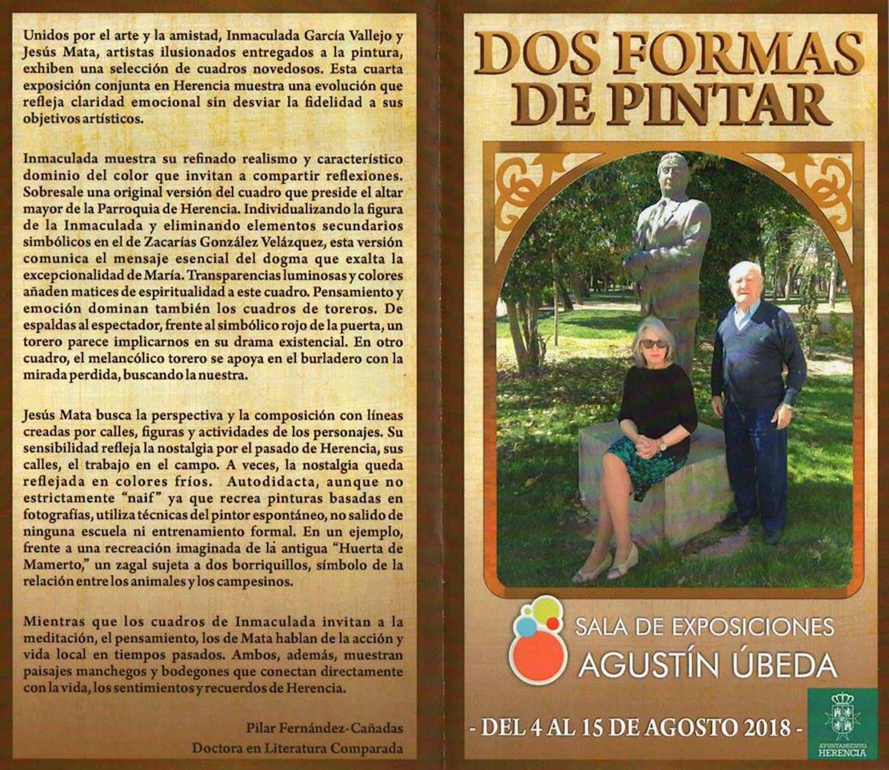 """diptico dos formas de pintar herencia - Inauguración de la exposición """"Dos formas de pintar"""" el sábado 4 de agosto"""