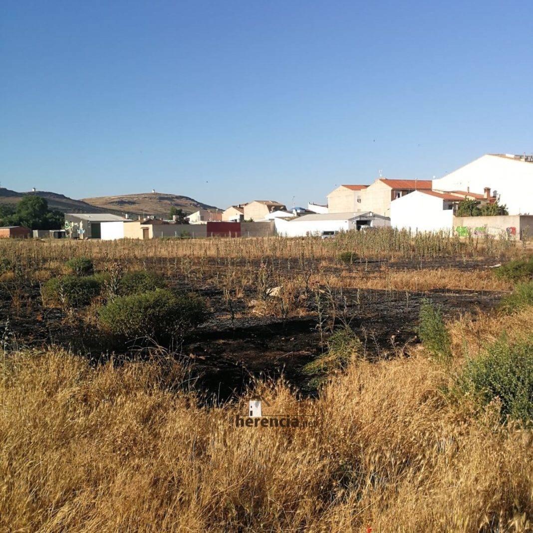 incendio extinguido en herencia cerca calle molinos 1 1068x1068 - Extinguido un incendio de la broza de una parcela en Herencia