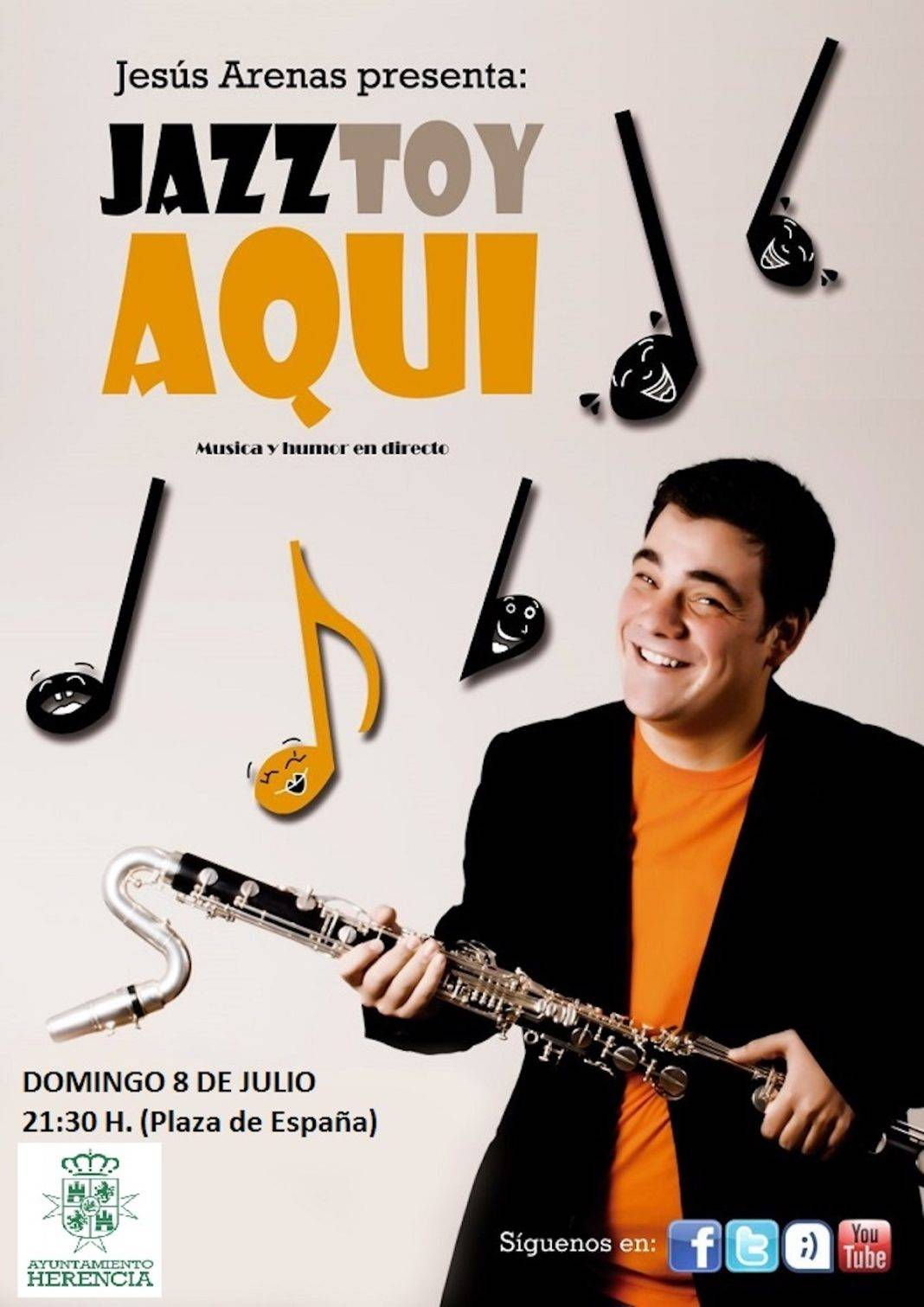 jazztoy aqui herencia 1068x1511 - El domingo noche de humor y música con Jesús Arenas
