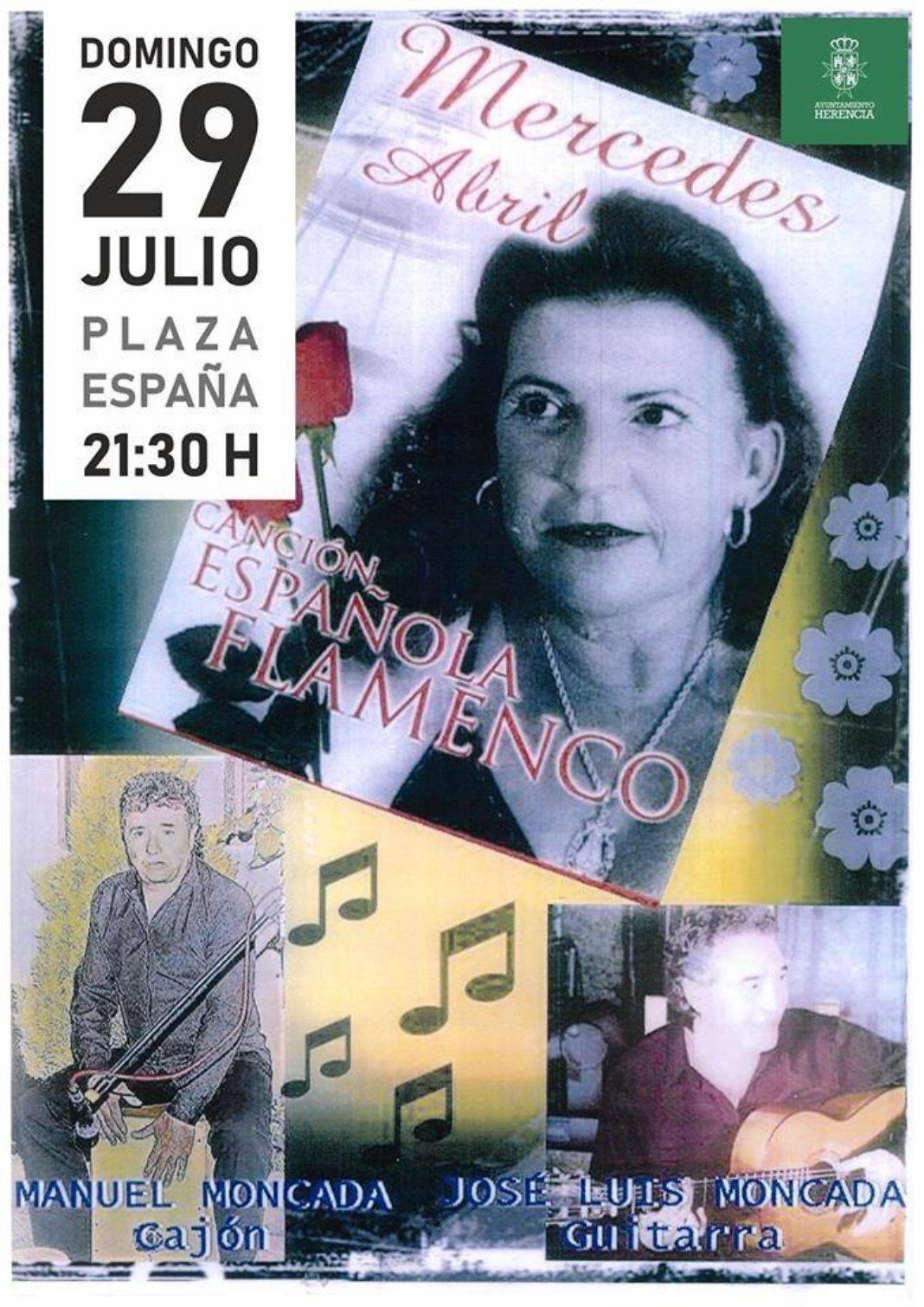 Mercedes Abril y su espectáculo de canción española y flamenco sonarán en la plaza 4