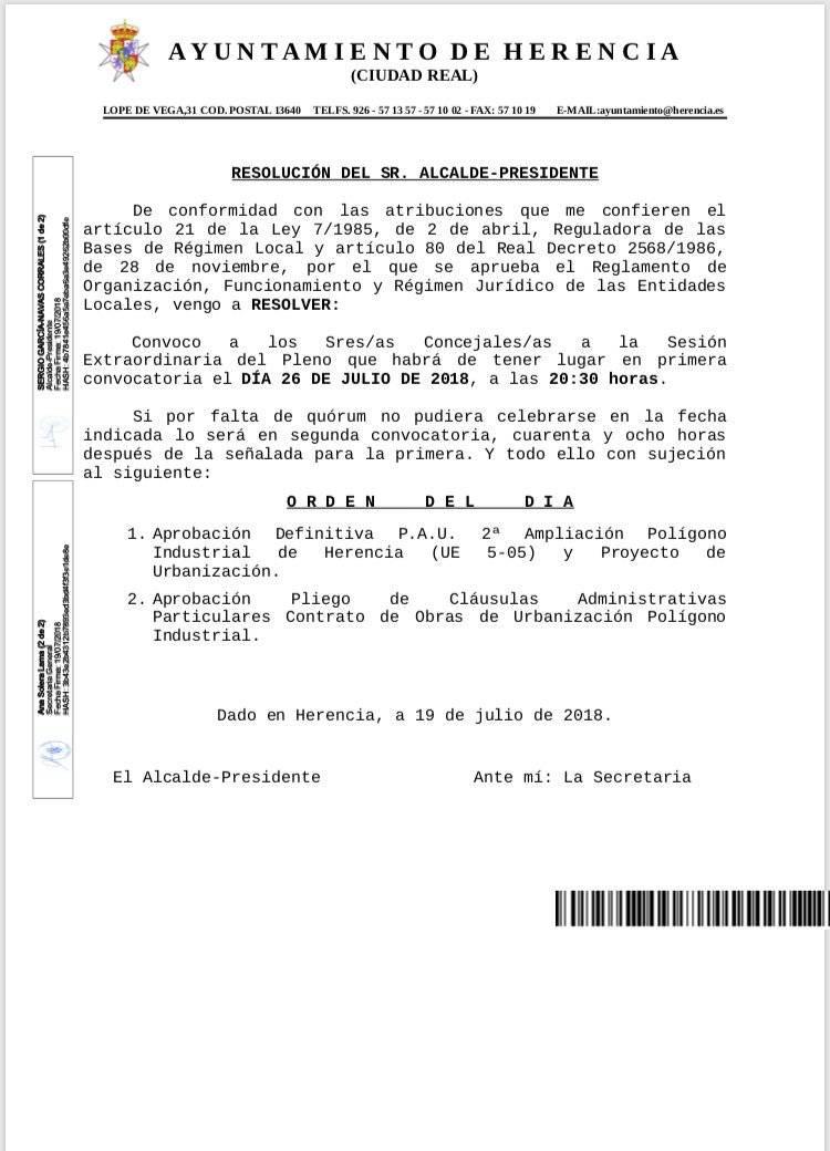 Pleno extraordinario para la aprobación definitiva P. A. U. de ampliación del polígono industrial 6