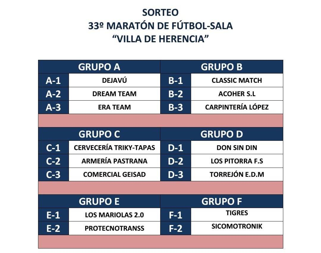 """sorteo 33 maraton futbol sala herencia - Comienza el 33 Maratón de Fútbol Sala """"Villa de Herencia"""""""