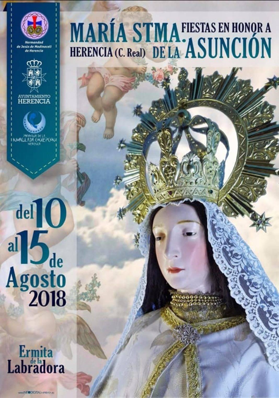 Cartel Virneg de la Labradora o Maria Santísima de la Asunción de Herencia 1068x1526 - Programa de actos para las fiestas del barrio de La Labradora