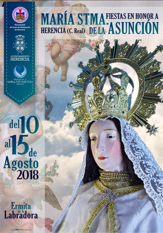Cartel Virneg de la Labradora o Maria Santísima de la Asunción de Herencia - Programa de actos para las fiestas del barrio de La Labradora