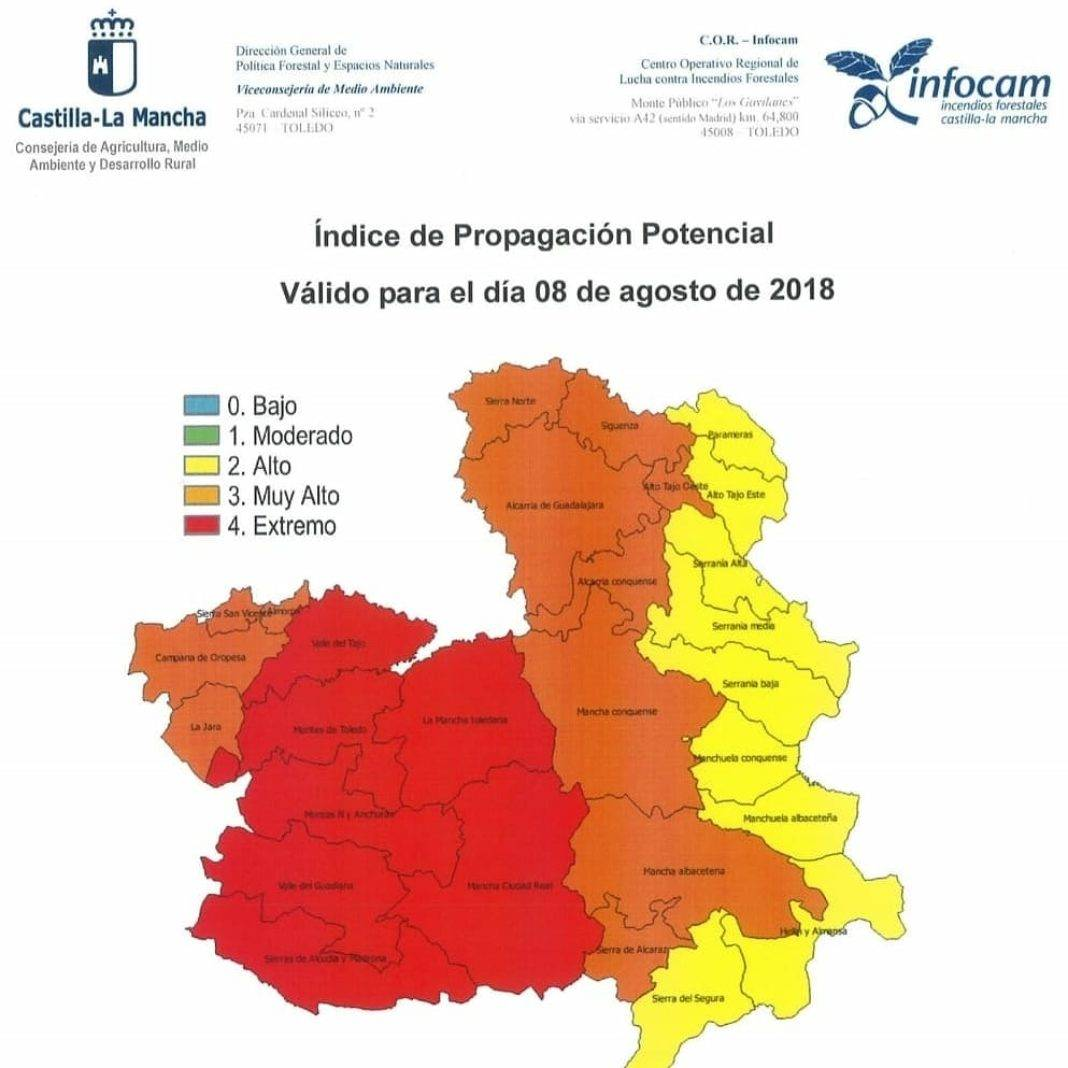 alto riesgo incendios clm 8 agosto 2018 1068x1068 - Alerta roja por riesgo alto de incendios en Ciudad Real