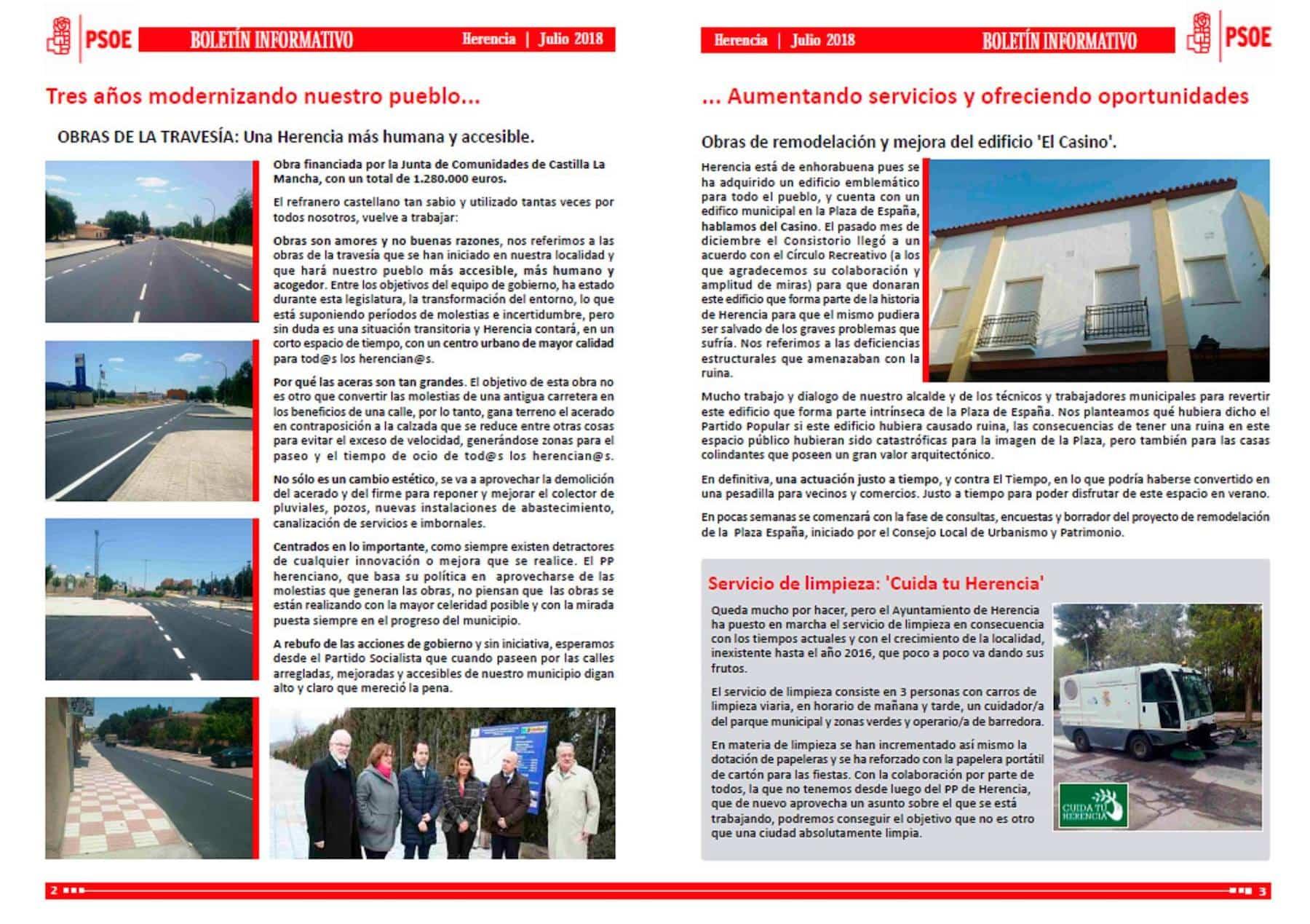 El PSOE de Herencia edita un boletín informativo sobre inversiones en Herencia 6