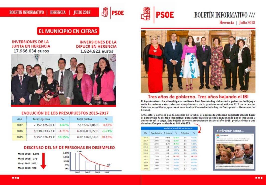 El PSOE de Herencia edita un boletín informativo sobre inversiones en Herencia 7