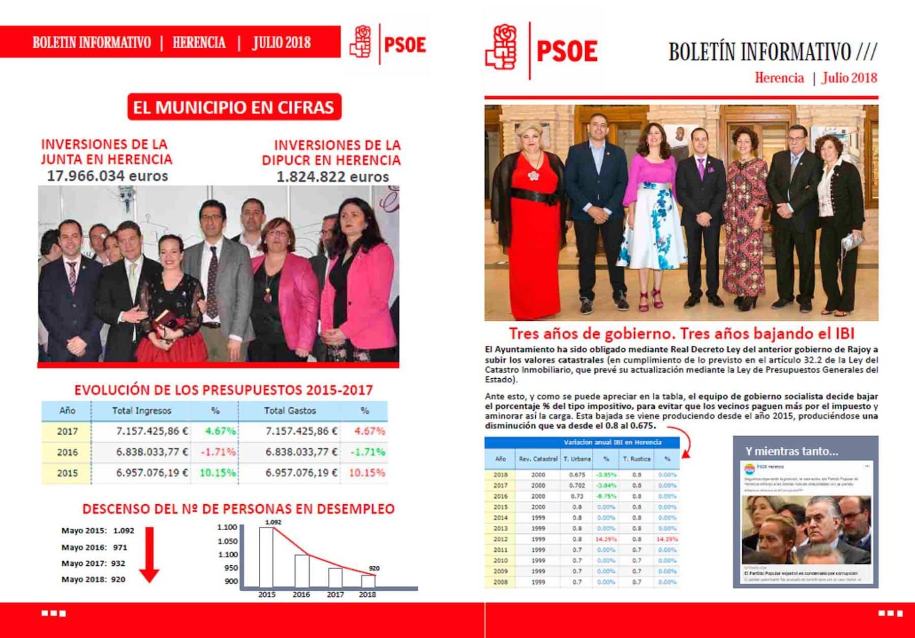 boletin psoe herencia julio 2018 - El PSOE de Herencia edita un boletín informativo sobre inversiones en Herencia