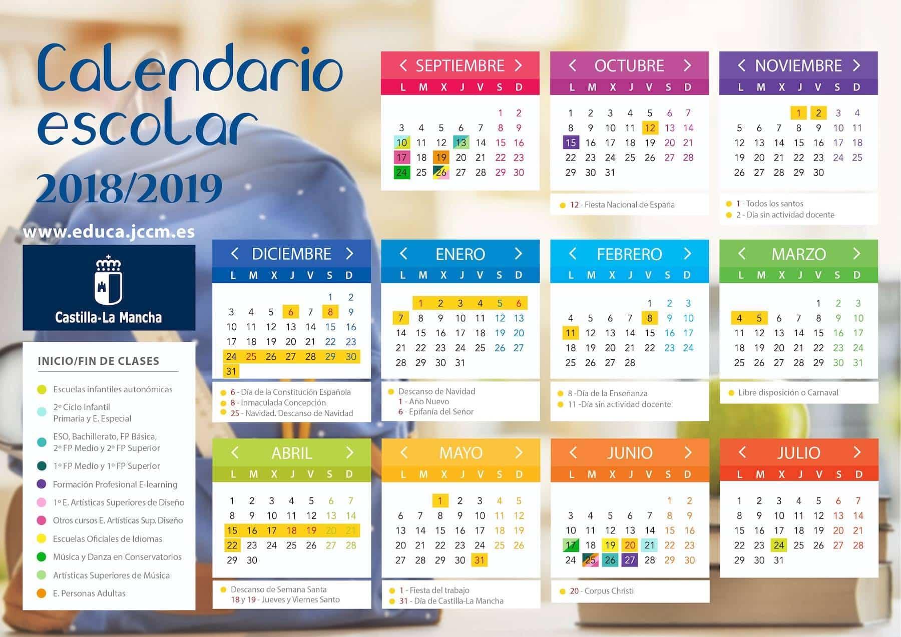 Calendario escolar en Castilla-La Mancha para 2018-2019