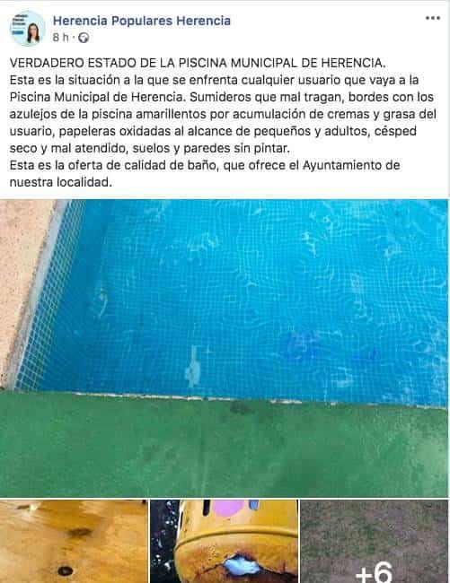 captura facebook pp herencia piscina municipal - Partido Popular muestra el verdadero estado de la Piscina Municipal de Herencia