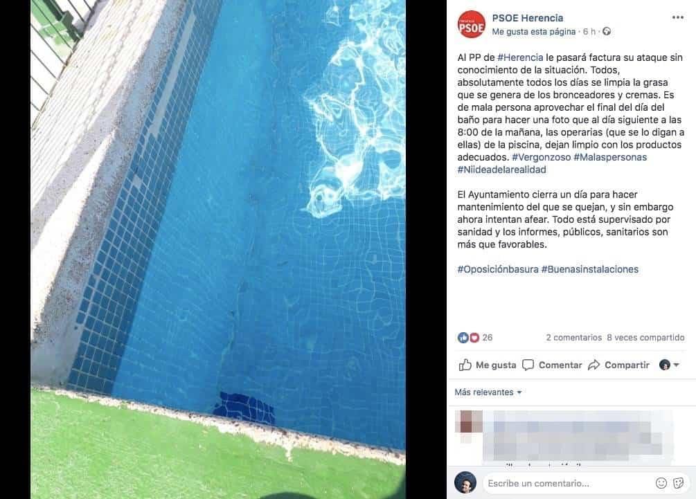 captura facebook psoe herencia piscina municipal - PSOE responde al PP sobre el estado de la Piscina Municipal de Herencia