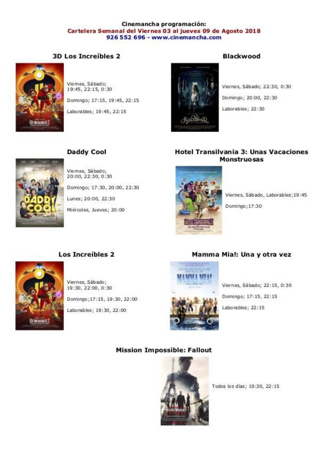 cartelera de cinemancha del 03 al 09 de agosto 1068x1513 - Programación cines Cinemancha del 3 al 9 de agosto