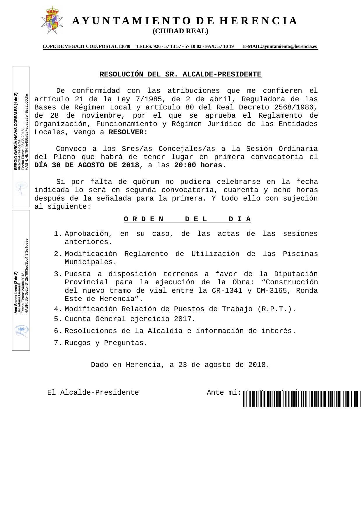 convocatoria pleno herencia 30 agosto 2018 - Próxima Sesión Ordinaria del Pleno de Herencia el 30 de agosto