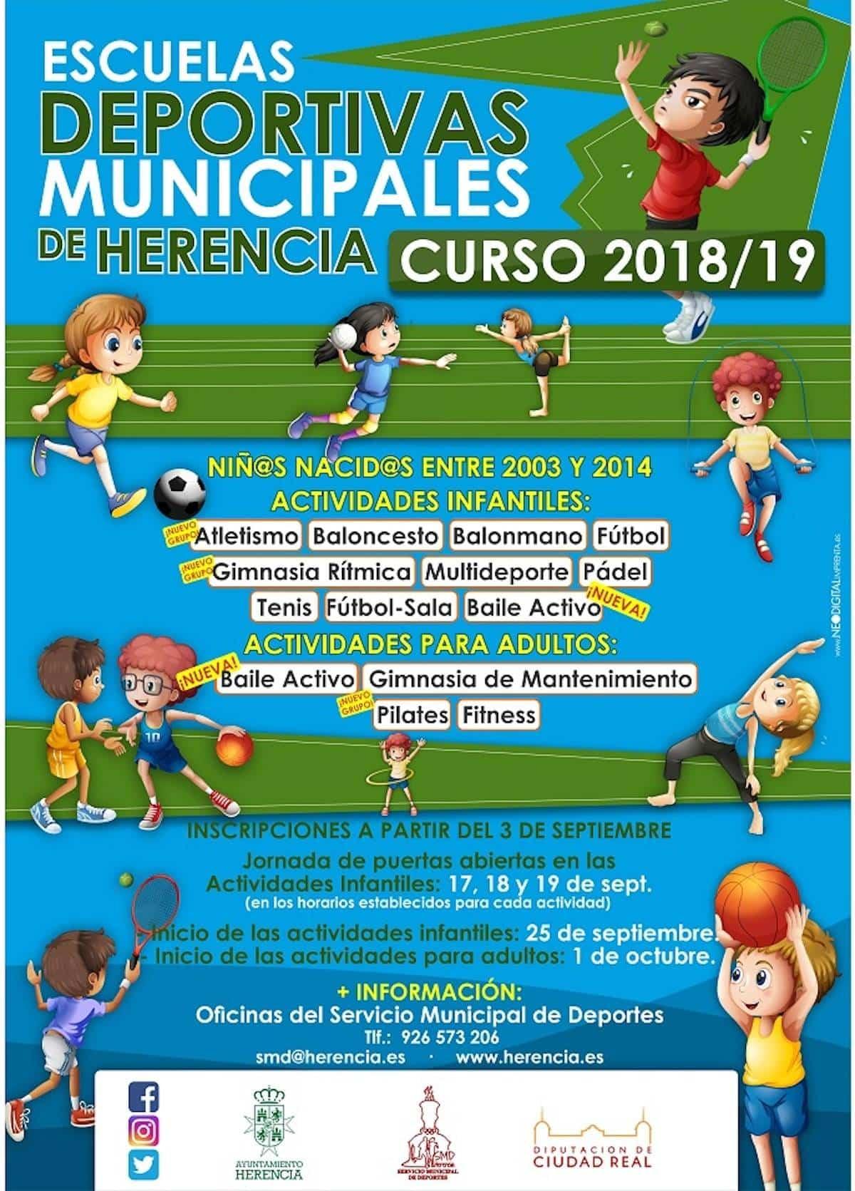 escuelas deportivas herencia 2018 2019 - Las Escuelas Deportivas Municipales de Herencia abren su plazo de inscripción
