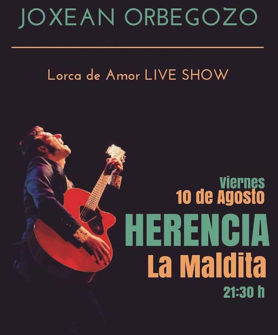 """joxean orbegozo lorca de amor 1068x1289 - Joxean Orbegozo trae su show """"Lorca de Amor"""" a Herencia"""