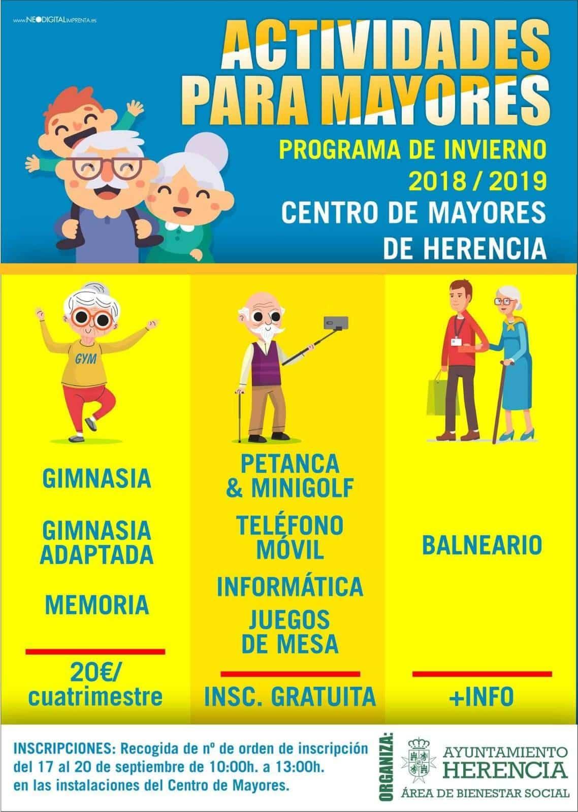 Programa de invierno de actividades para mayores en Herencia - Programa de invierno de actividades para mayores en Herencia