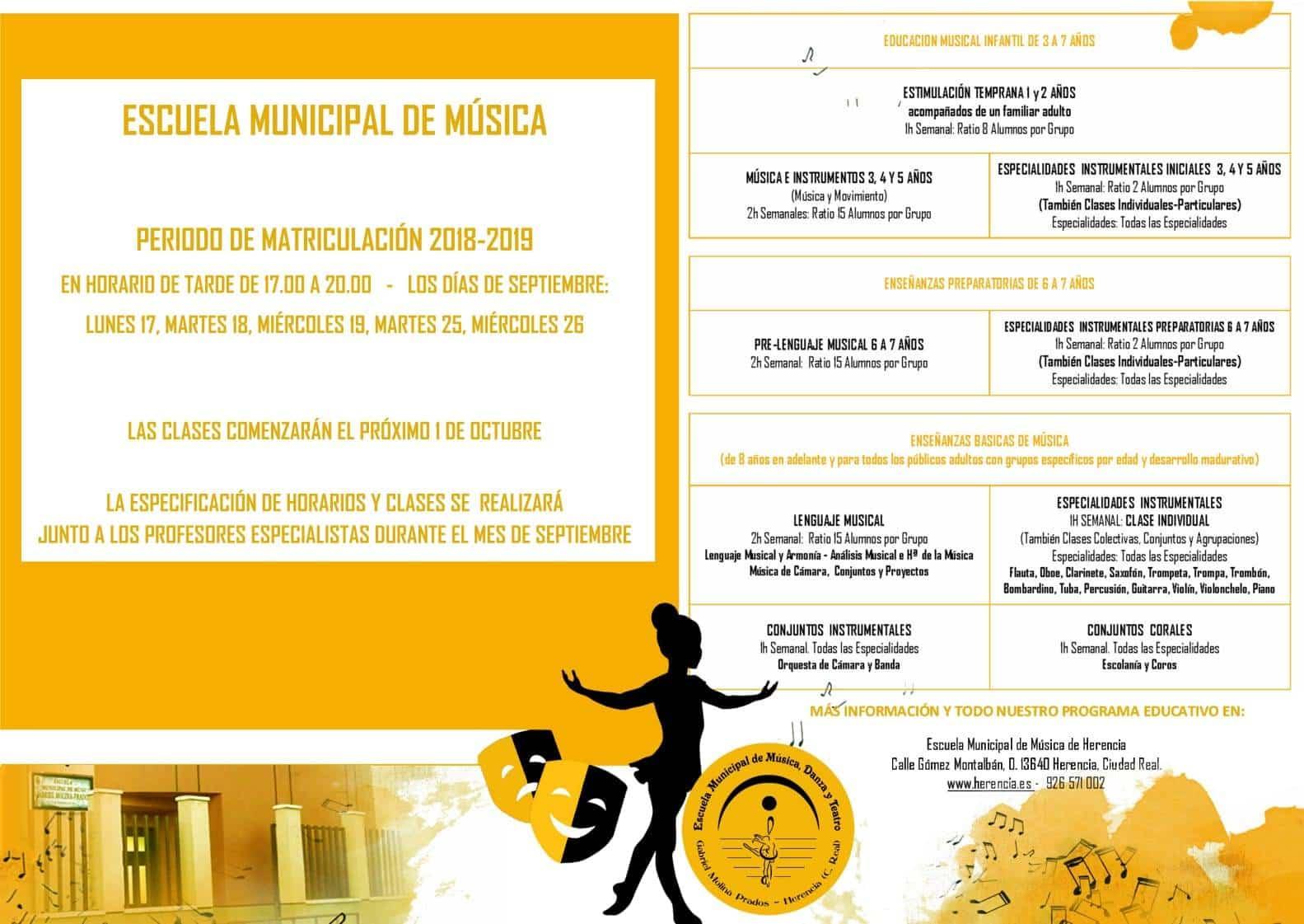 abierta matriculaciones escuela musica herencia - Abierto el periodo de matriculación 2018/2019 en la Escuela de Música de Herencia