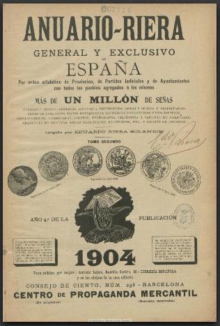 anuario riera - El comercio en Herencia a principios del siglo XX