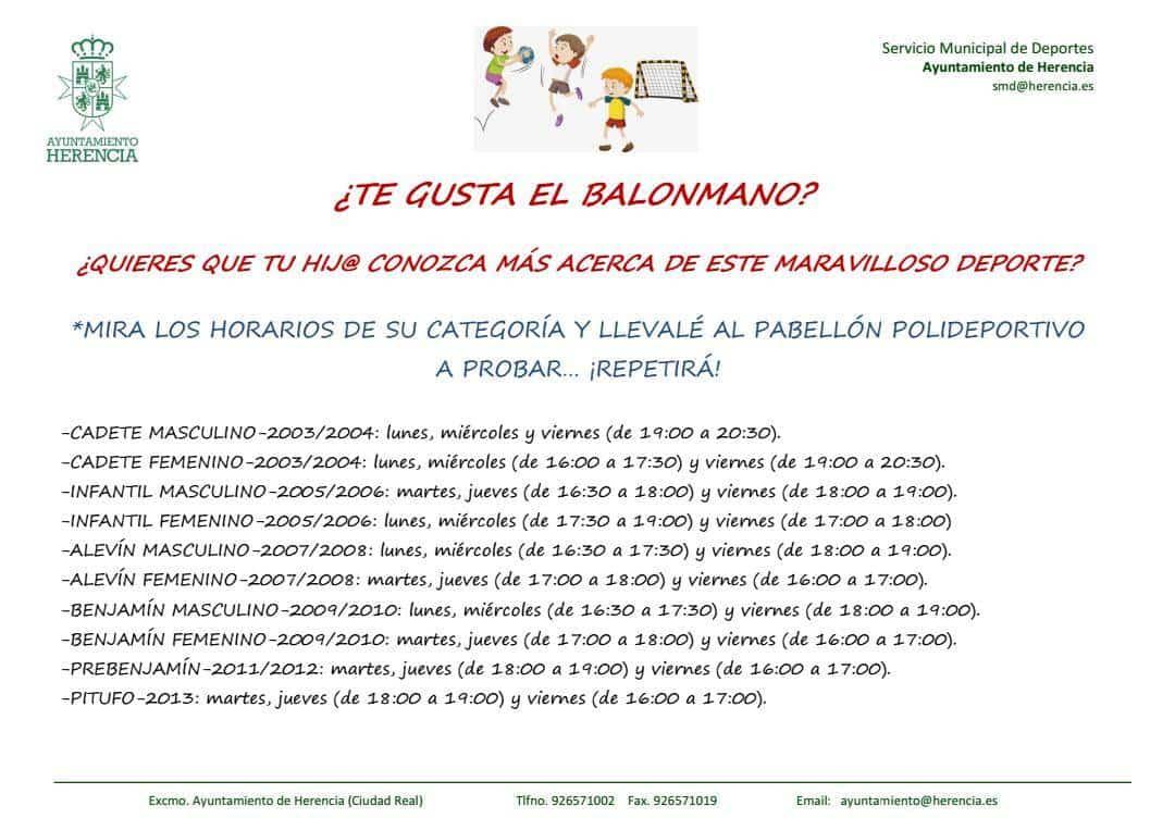 Disponibles horarios y categorías para el balonmano en Herencia 3