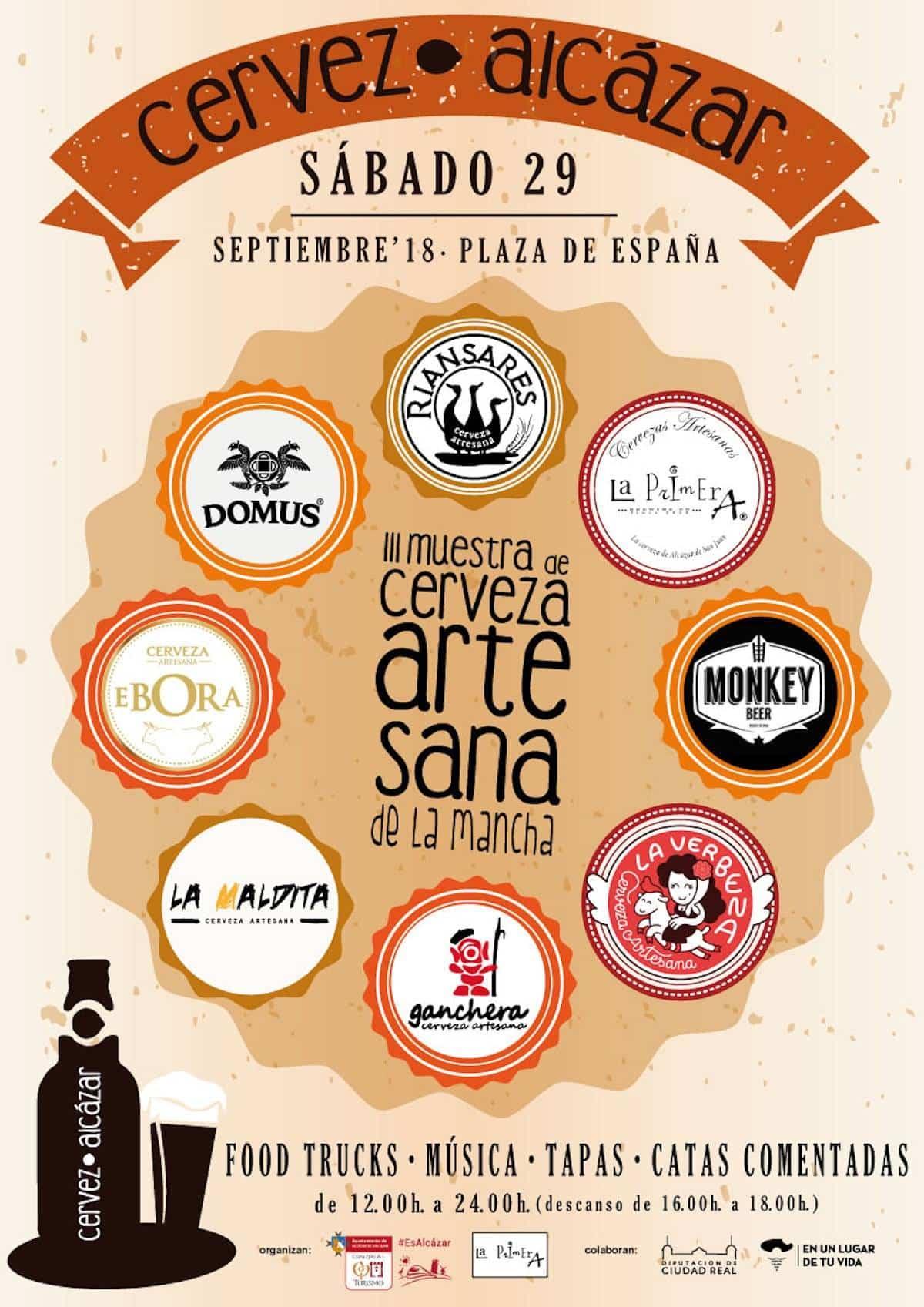 cartel de cervealcazar 2018 - Herencia estará presente en la III Muestra de Cerveza Artesana de La Mancha Cervezalcazar