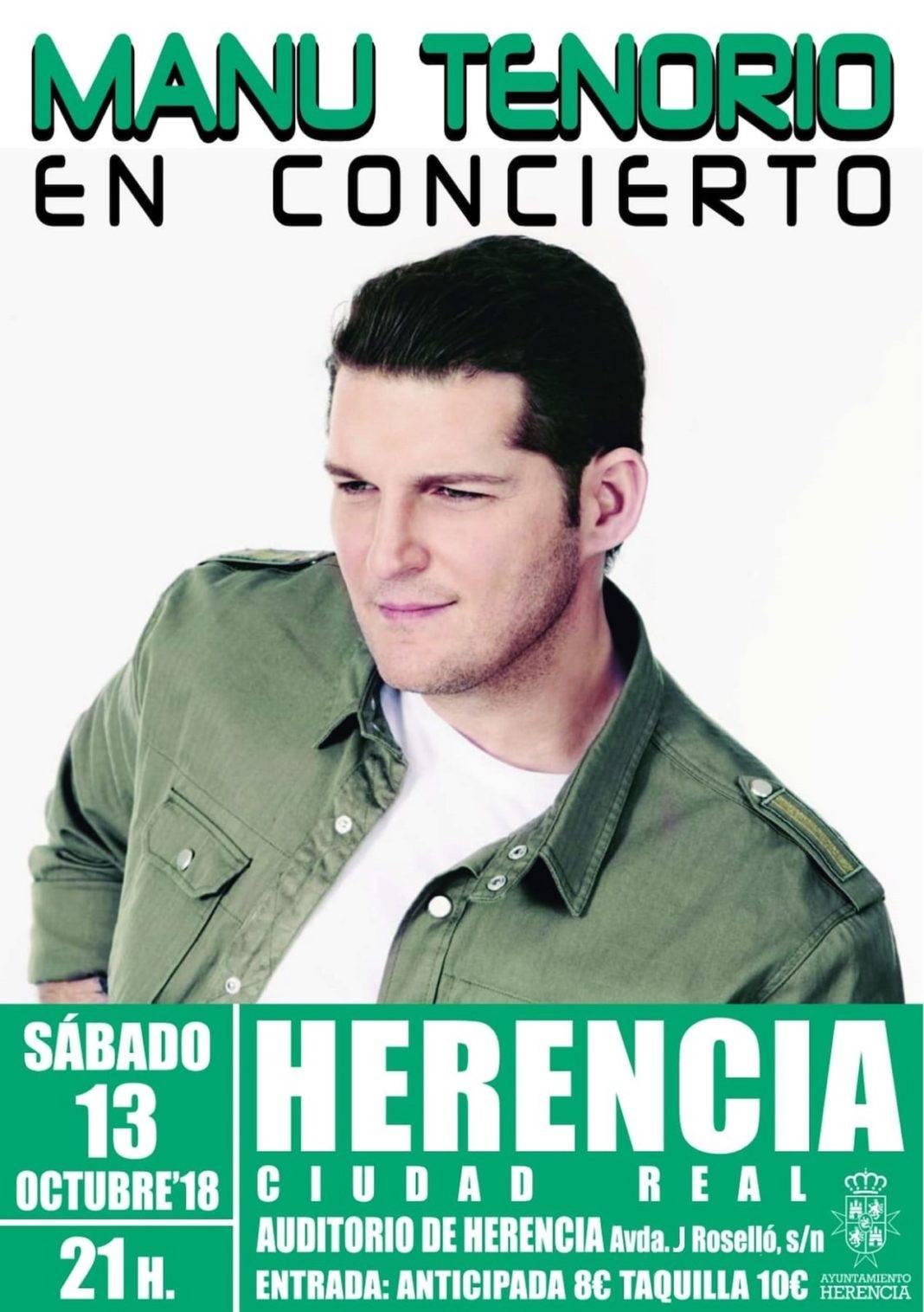 Manu Tenorio actuará en Herencia el próximo día 13 de octubre 2