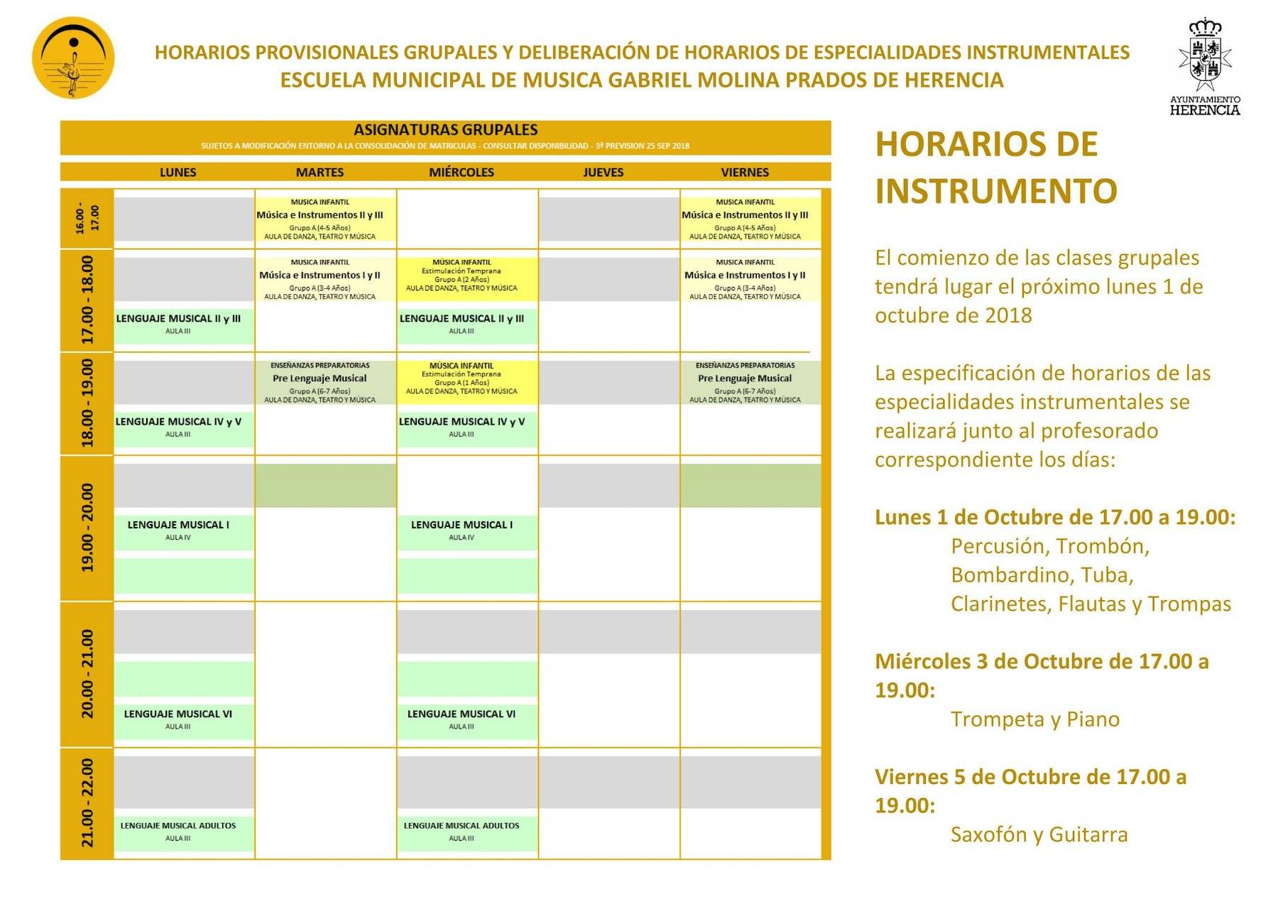 horarios instrumentos escuela musica herencia 2018 - Publicado los horarios de instrumento de la Escuela de Música de Herencia