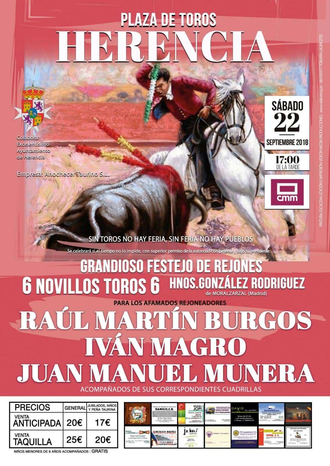 """plaza de toros de herencia novillos rejones feria y fiestas 2018 - """"Grandioso festejo con rejones"""" en la Feria y Fiestas de Herencia"""