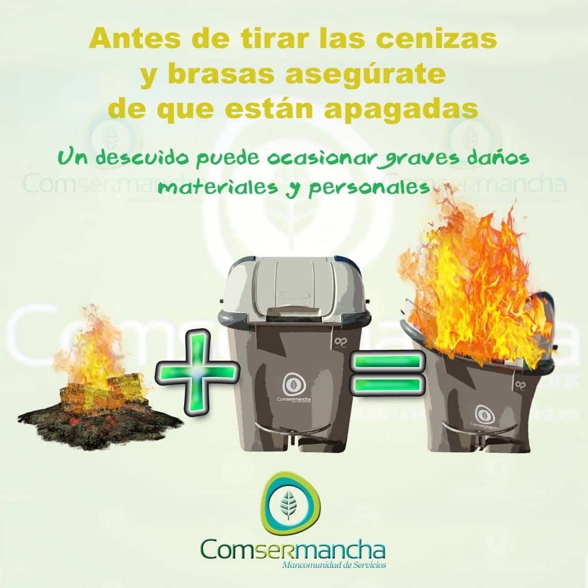 Cenizas y contenedor seguridad - Comsermancha recuerda el riesgo de tirar las cenizas y brasas en los contenedores