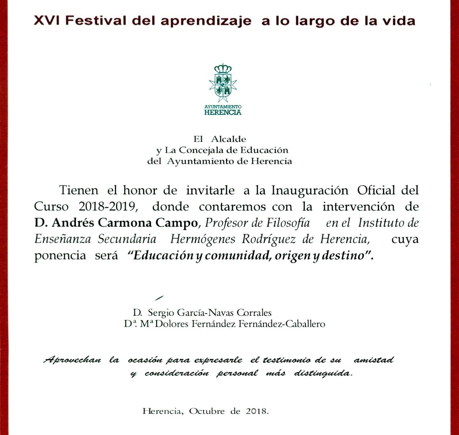 XVI Festival del aprendizaje a lo largo de la vida - Acto de inauguración oficial del Curso 2018-2019