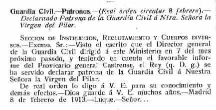 historia patrona guardia civil - La Guardia Civil de Herencia celebró el día de su patrona la Virgen del Pilar