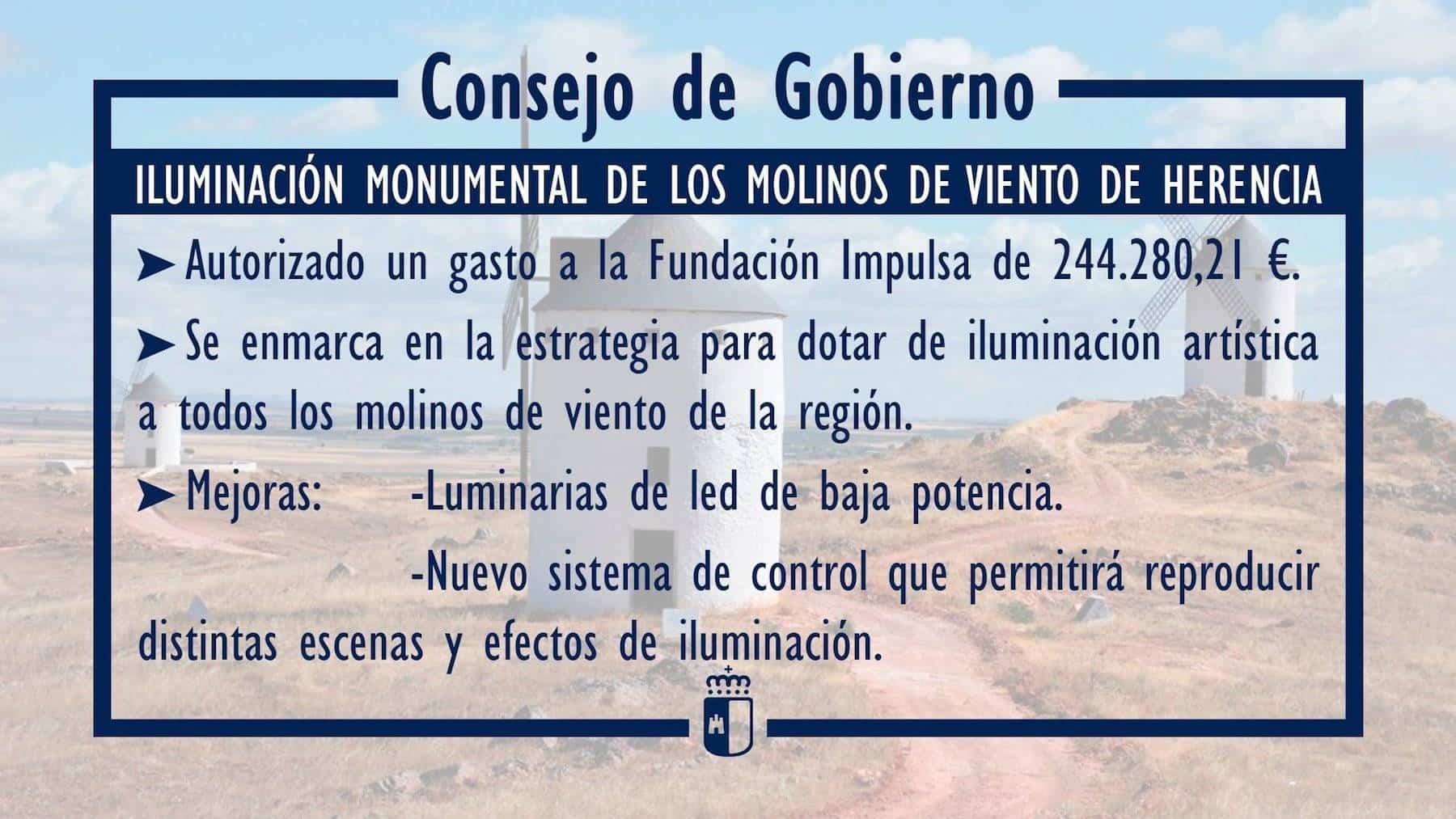 iluminacion monumental molinos de viento herencia - Los Molinos de viento de Herencia volverán a iluminarse años después