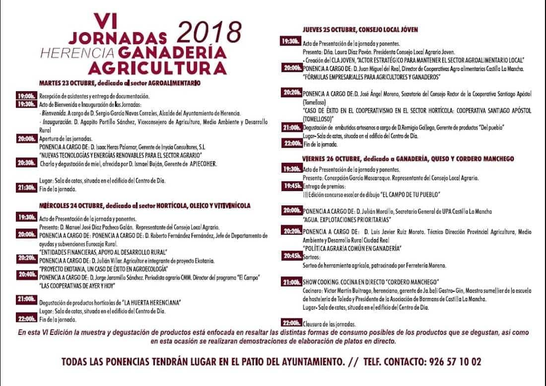 programacion VI Jornadas ganaderia agricultura herencia - Las últimas innovaciones del sector presentes en las VI Jornadas de Agricultura y Ganadería