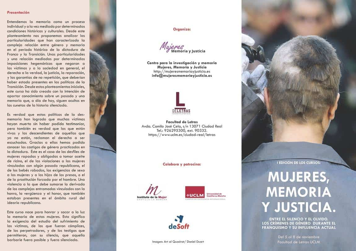 triptico imprimir 1w - Un curso sobre los crímenes de género durante el franquismo aborda el caso de Herencia