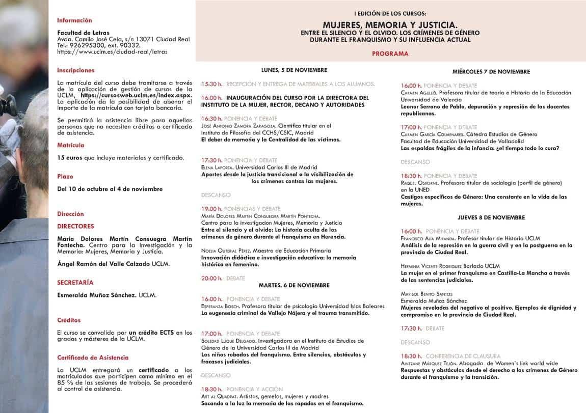 triptico imprimir 2w - Un curso sobre los crímenes de género durante el franquismo aborda el caso de Herencia