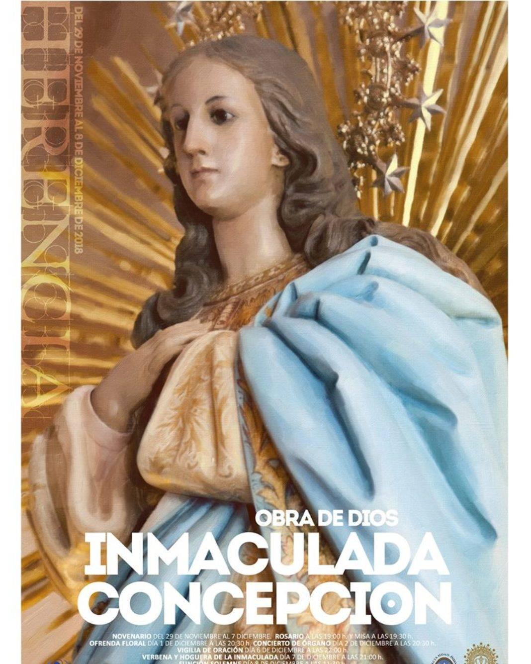 Cartel fiestas patronales en honor a la Inmaculada 2018 1068x1335 - Actos de las fiestas patronales 2018 en honor a la Inmaculada Concepción