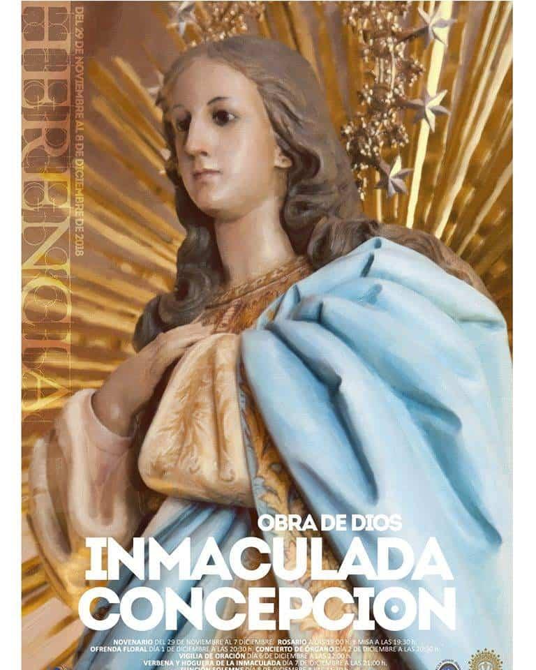 Cartel fiestas patronales en honor a la Inmaculada 2018 - Presentado el programa de las fiestas en honor a la Inmaculada y el próximo Año Mariano