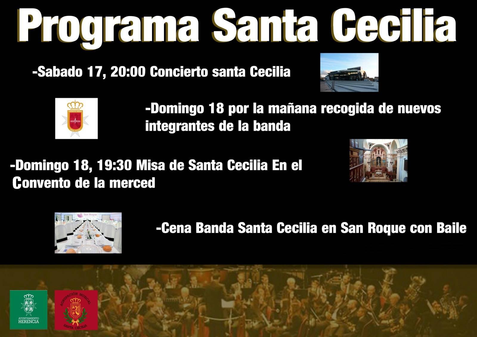Proegama de Santa Cecilia en Herencia 2018 - Concierto y actos en honor a Santa Cecilia