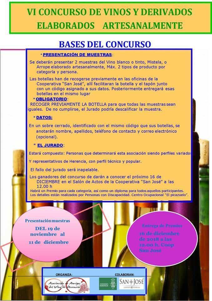 VI concurso de vinos y derivados elaborados artesanalmente - Convocado el VI concurso de vinos y derivados elaborados artesanalmente
