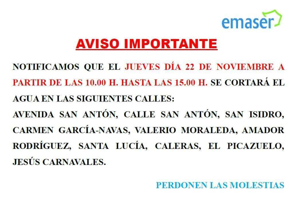 aviso EMASER corte de agua - Emaser cortará el agua por mejoras en algunas calles el 22 de noviembre