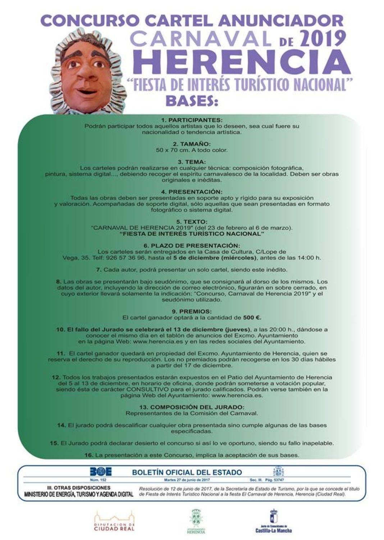 bases concurso cartel anunciador carnaval de Herencia 2019 1068x1501 - Bases para el concurso del Cartel Anunciador del Carnaval de Herencia 2019