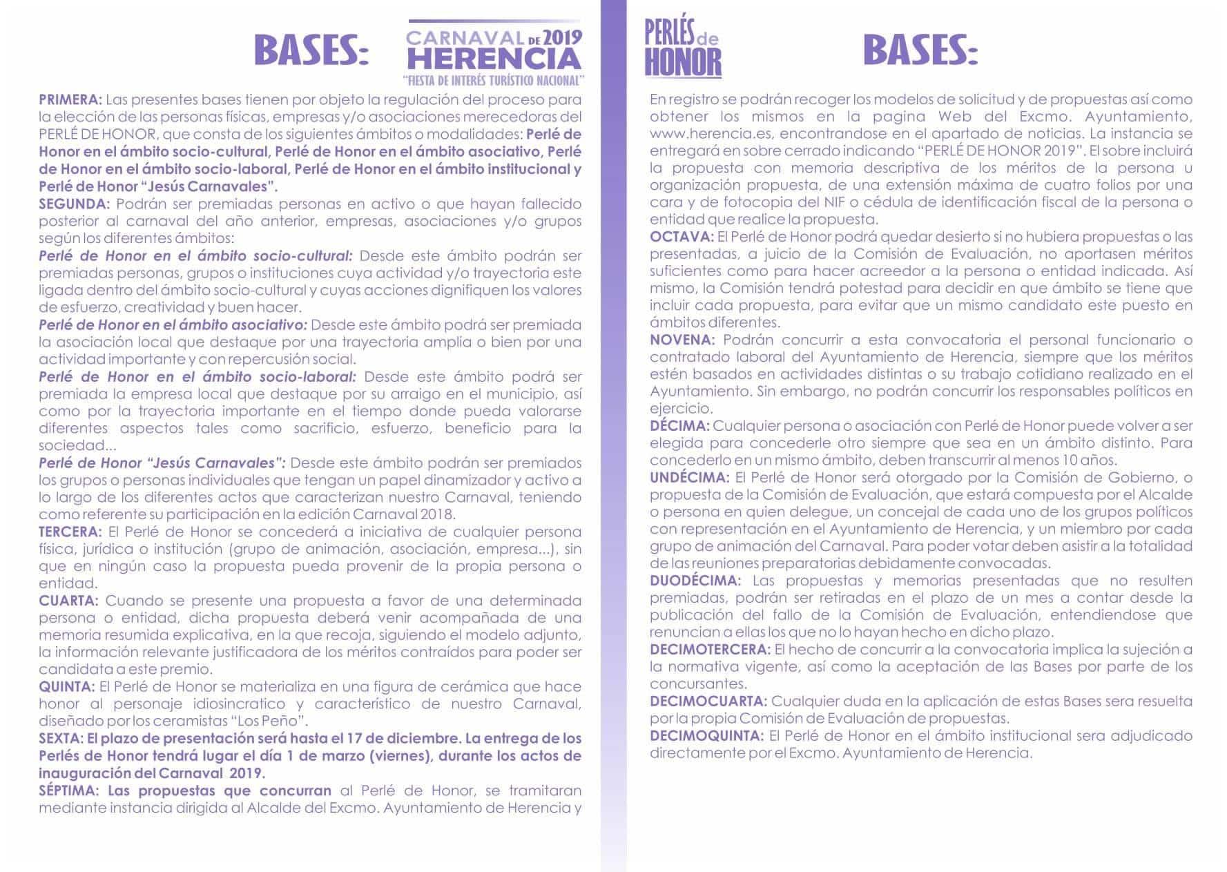 folleto PERLE DE HONOR 2019 bases - Abierto el plazo de presentación de candidaturas para los Perlés de Honor del Carnaval de Herencia 2019