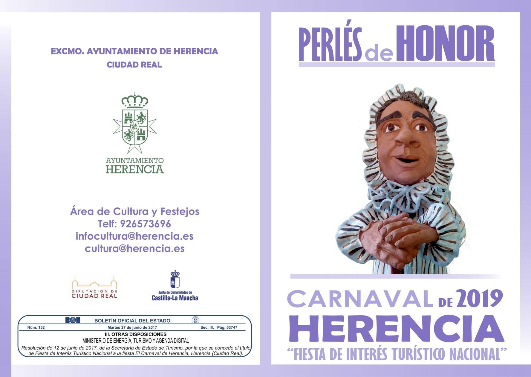 folleto PERLE DE HONOR 2019 - Abierto el plazo de presentación de candidaturas para los Perlés de Honor del Carnaval de Herencia 2019