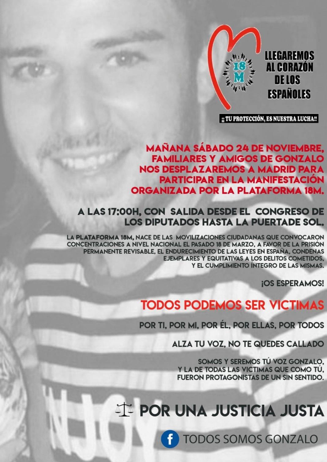 manifestación a favor de gonzalo 1068x1511 - Los familiares y amigos de Gonzalo Buján participarán en una manifestación en Madrid