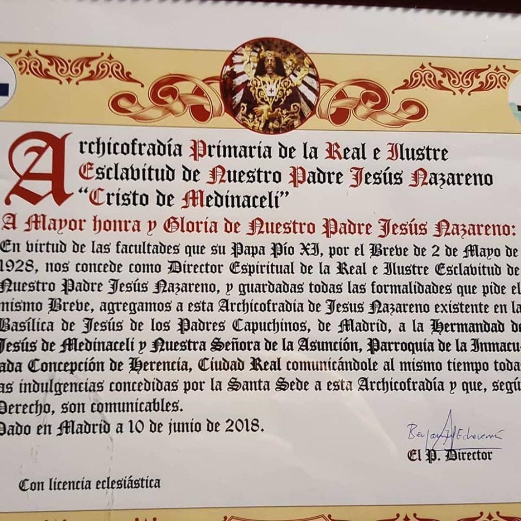 medinaceli 1068x1068 - La Hermandad de Medinaceli de Herencia viaja a Madrid para celebrar la festividad de Cristo Rey