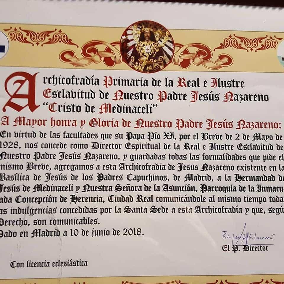 La Hermandad de Medinaceli de Herencia viaja a Madrid para celebrar la festividad de Cristo Rey 3