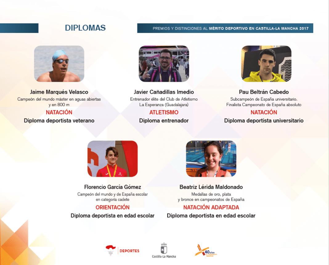 diplomas merito deportivo clm 2017 1068x859 - Los Premios y Distinciones al Mérito Deportivo CLM 2017 se entregarán en Herencia