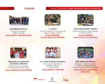 placas merito deportivo clm 2017 2 342x275 - Los Premios y Distinciones al Mérito Deportivo CLM 2017 se entregarán en Herencia