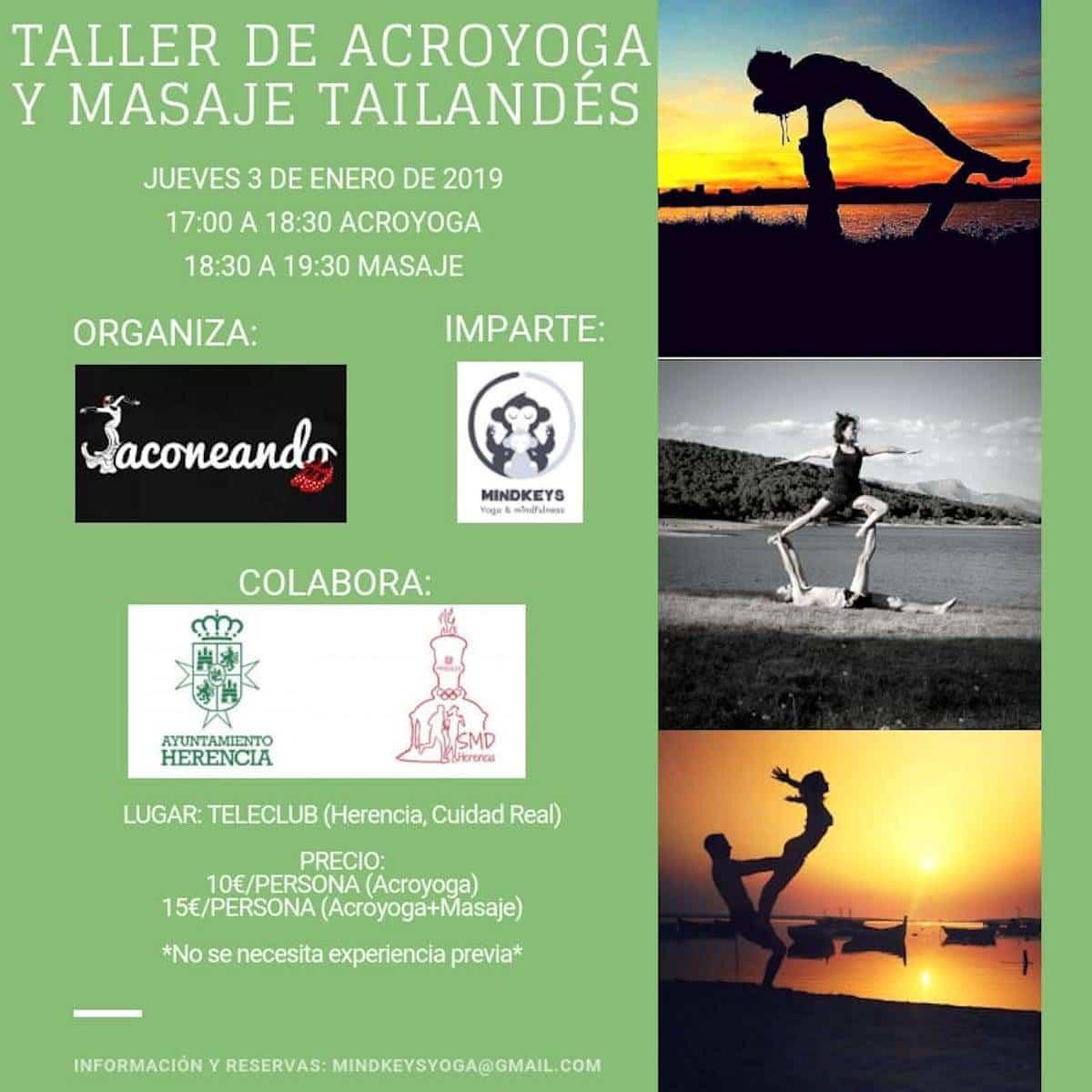 taller acroyoga masaje tailandes - Taller de acroyoga y masaje tailandés en Herencia